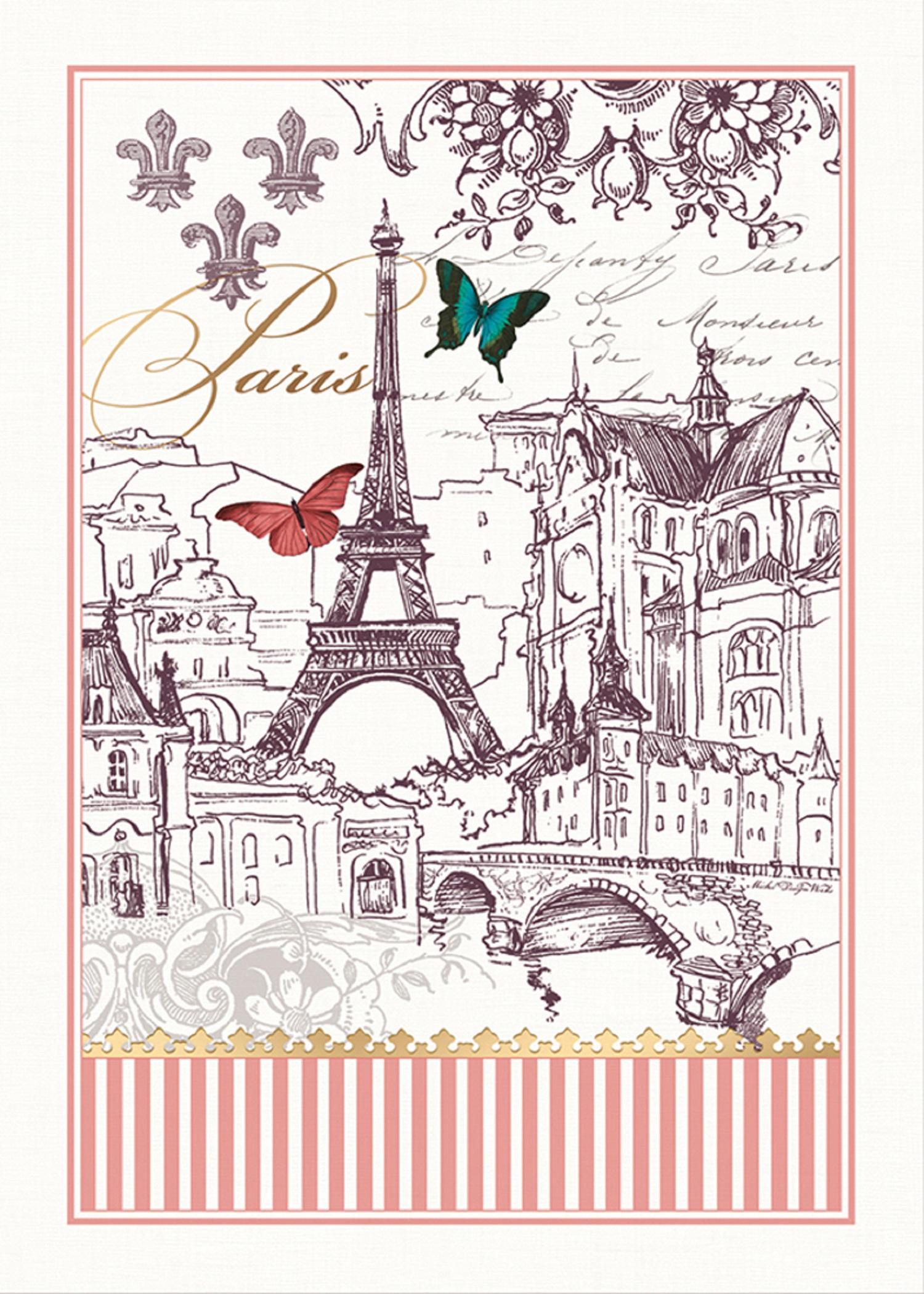 """/""""toujours Paris/"""" Michel Design Works puro Algodón Impreso Toalla de té."""